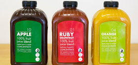 Apple, Ruby, and Orange fruit juice concentrates